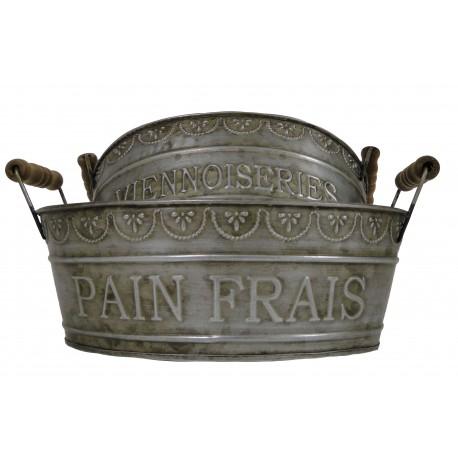 """Set de 2 panieres couleur zinc """"Pain frais - Viennoiseries"""""""