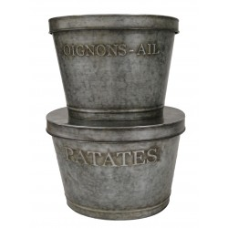 "Set 2 pot réserves ""Patates / Oignon-Ail"" en zinc"