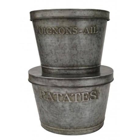 """Set 2 pot réserves """"Patates / Oignon-Ail"""" en zinc"""