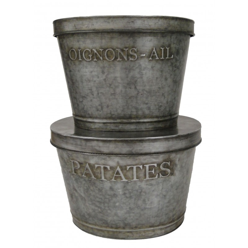 set 2 pot zinc reserves patates oignon ail by antic line ideal for a vintage style. Black Bedroom Furniture Sets. Home Design Ideas