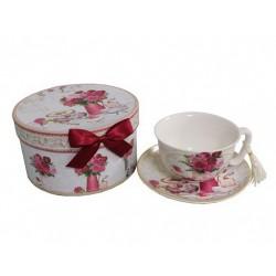 Coffret tasse et sous tasse décor fleurs roses