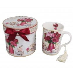 Coffret mug décor fleurs roses