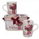 Coffret de 2 mugs décor fleurs roses