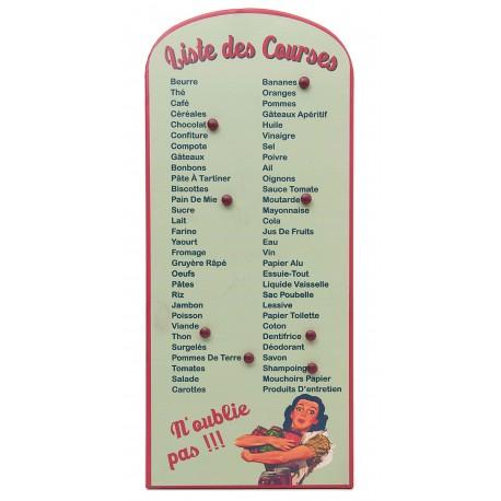 """Plaque décorative pense bête émaillée """"liste des courses"""" couleur vert d'eau"""