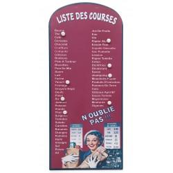 """Plaque décorative pense bête émaillée """"liste des courses"""" couleur bordeau"""