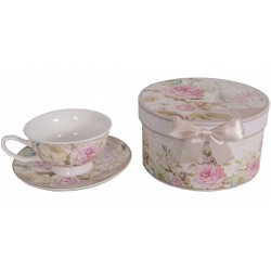 "Mug box and under cup decor ""Rose de Paris"""
