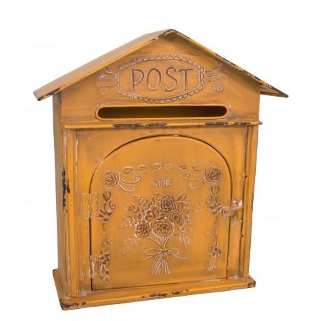 """Boîte aux lettres ou boite à clés jaune """"Post"""""""