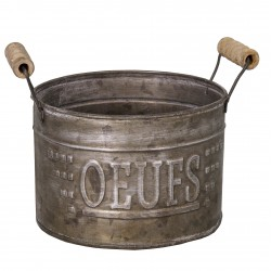 "Zinc egg basket ""Oeufs"" with wooden handles"