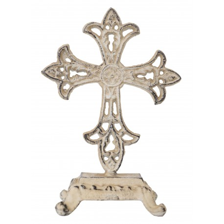 Croix sur pied en métal blanc vieilli