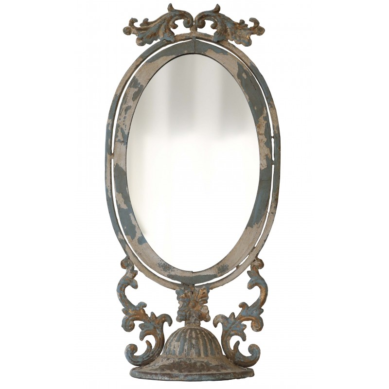 grand miroir oval poser en m tal vieilli par van deurs. Black Bedroom Furniture Sets. Home Design Ideas