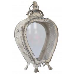 Lanterne coeur en métal blanc vieilli