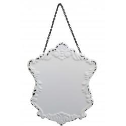 Plaque décorative à suspendre en métal blanc vieilli avec chaînette