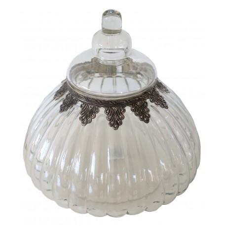 Bocal rond en verre avec couvercle et finition étain décoratif ciselé