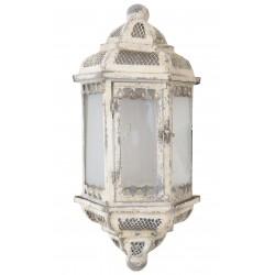 Lanterne murale décorative à suspendre en métal blanc vieilli