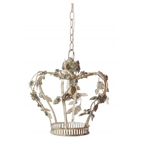 Lustre couronne en métal blanc vieilli