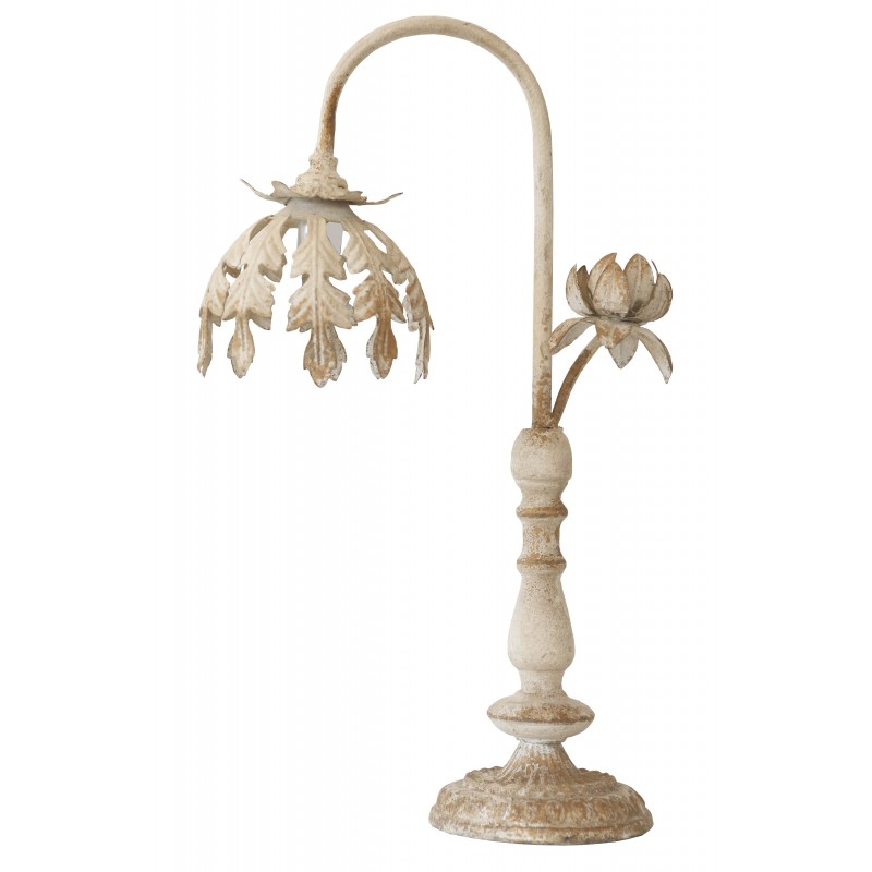 Lampe poser de style shabby chic en m tal blanc vieilli for Lampe style shabby chic
