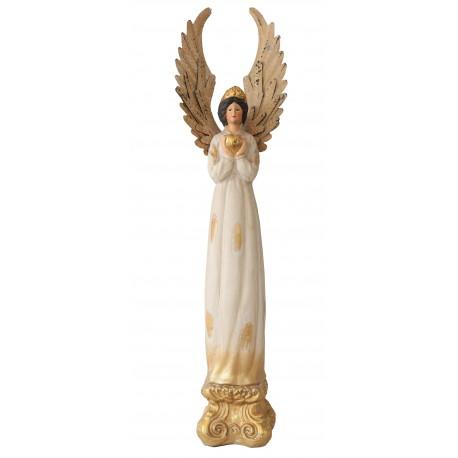 Grand ange en céramique blanc et doré vieilli