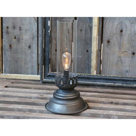 Lanterne photophore à ampoule couleur charbon antique
