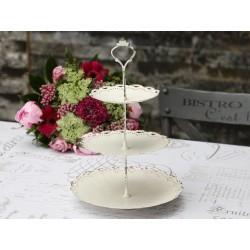 Support à gâteaux triple blanc antique