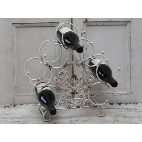 Range bouteilles à poser en métal blanc antique