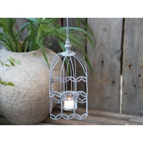 Photophore cage à oiseau à suspendre zinc antique