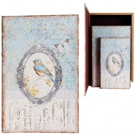 Set de 3 boîtes faux livres au décor oiseau bleu