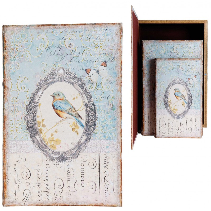 Set Of 3 Fake Book Boxes With Blue Bird Decor Ideal For A