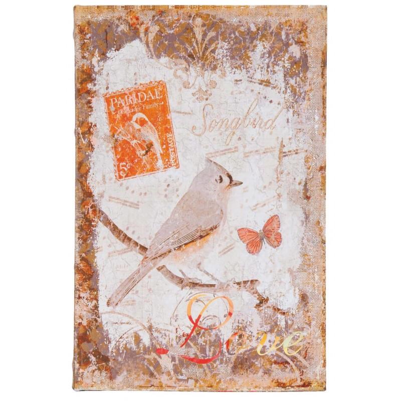 set de 3 bo tes faux livres au d cor oiseau orange pour une d co shabby chic et romantique. Black Bedroom Furniture Sets. Home Design Ideas