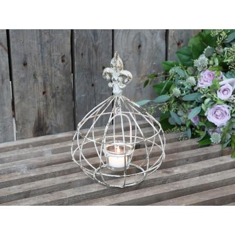 Lanterne fleur de lys Lily couleur crème antique