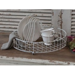 Plateau à vaisselle en fil de fer couleur blanc antique