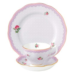 Candy Lovely Lilac 3 Pce Set Teacup, Saucer & Plate 20cm