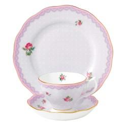 Service 3 pièces Lovely Lilac Candy Collection avec tasse, sous tasse et assiette de 20 cm