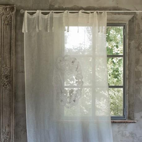 Rideau Monique écru 140 x 290 cm à nouettes