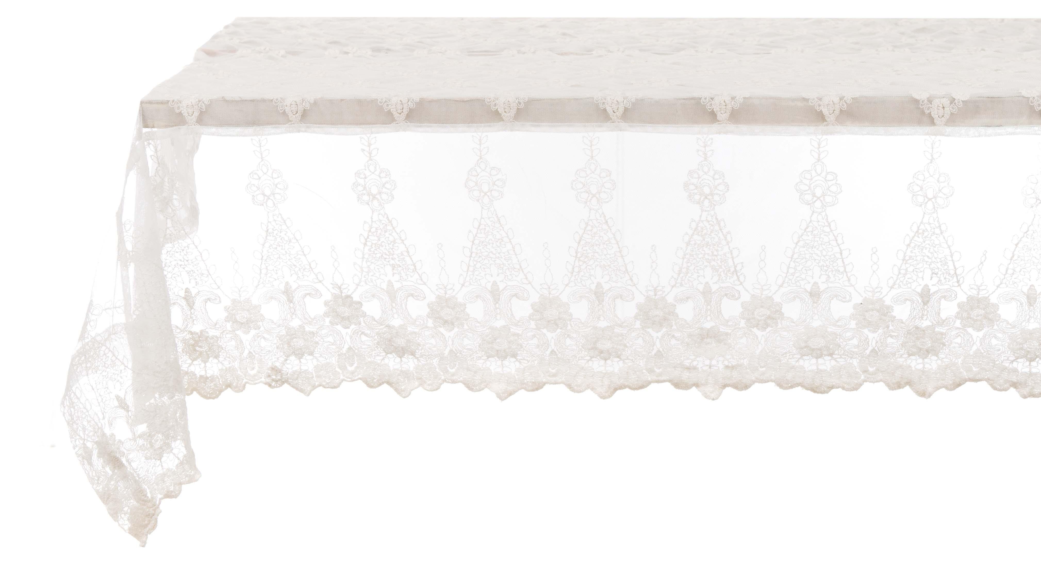 "Nappe en dentelle /""Villa Amalfi/"" 152 x 200 cm style shabby chic Blanc Mariclo"