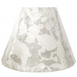 Round white lace lampshade transparent - diameter 20 cm