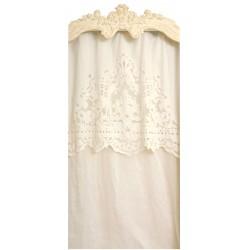 Rideau Reine blanc 130 x 300 avec sa cantonnière