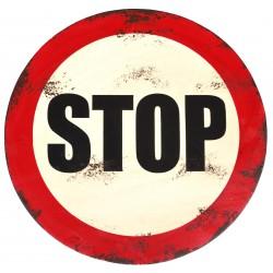 Panneau STOP vintage en metal