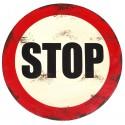 Panneau STOP vintage en metal à suspendre