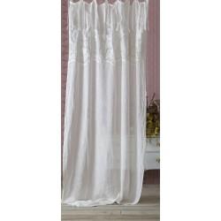 Rideau blanc brodé 140 x 290 à nouettes de la collection Demetra