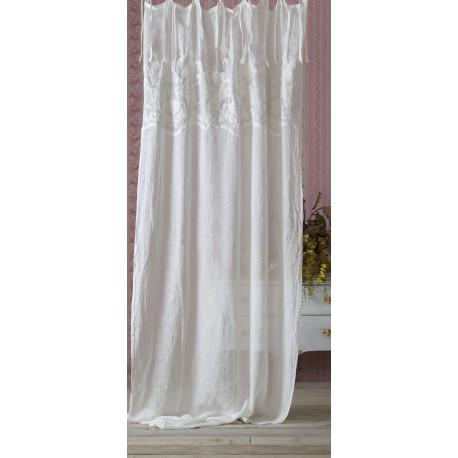 Rideau blanc brodé 140 x 290 de la collection Demetra