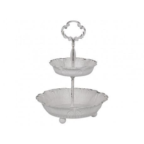 Support à gâteaux double blanc antique en métal dentelé