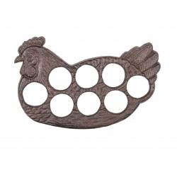 Porte oeufs poule en fonte brun antique pour 8 oeufs