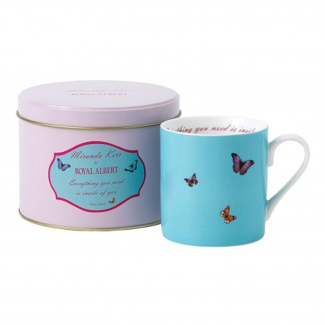 "Mug Miranda Kerr bleu dans sa boite en métal assortie ""Everything you need is inside of you"""