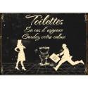"""Plaque décorative """"Toilettes, En cas d'urgence, Gardez votre calme"""""""