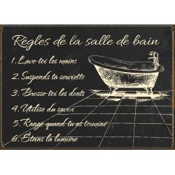 """Plaque décorative """"Règles de salle de bains"""""""