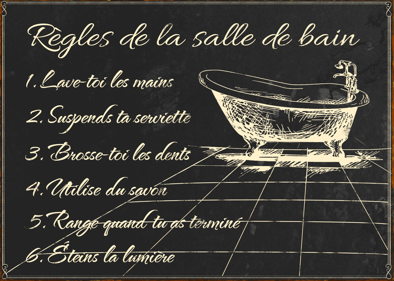 """Salle De Bain Plaque plaque décorative """"règles de salle de bains"""" par antic line"""