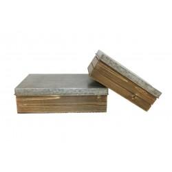 Set de 2 boites rectangles en zinc et bois