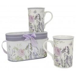 Coffret de 2 mugs décor lavande et rose