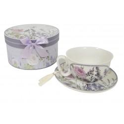 Coffret tasse et sous tasse décor lavande et rose