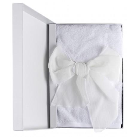 Set de deux serviettes de toilettes à neud en coffret cadeau
